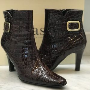 Bass Brown Florena Croc Patent Leather Ankle Boots